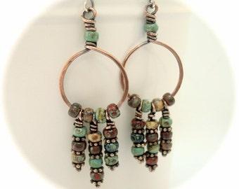 Boho Earrings - Copper Earrings - Rustic Jewelry - Copper Jewellery - Hoop Earrings - Bohemian Jewelry - Casual Earrings - 7th anniversary