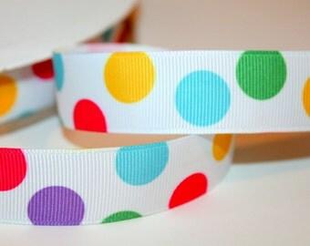 Jumbo Polka Dot Ribbon Turquoise Polka Dot Ribbon Rainbow Ribbon Large POlka dot Ribbon Circus Ribbon Birthday Ribbon Purple Dot Ribbon