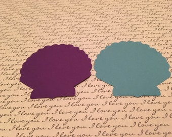 200 Dark purple or blue 2.4 inch sea shell paper punches, confetti, craft items, cards.