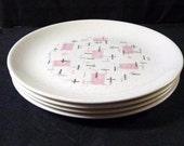 Vernon Kilns Plates Four Tickled Pink Salad Plates