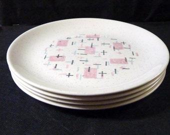 Vernon Kilns Tickled Pink Plates Four Salad Plates