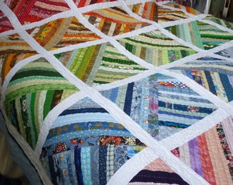 Quilt Hand Quilted Large Lap or Throw Quilt Rainbow of Colors