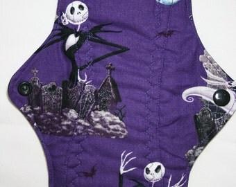 Kiki Mama Cloth Menstrual Pad Size Regular Nightmare Before Christmas ~ Woven Cotton