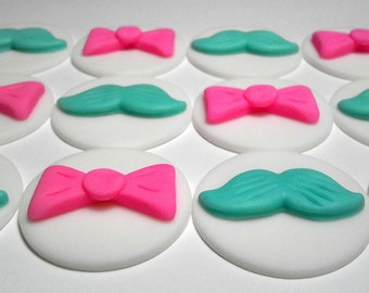 Boy or Girl, Mustache, Bow, Personalized, Edible Fondant, Cupcake or Cookie Toppers