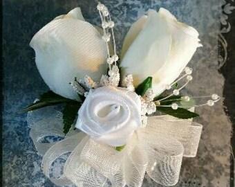 Ivory cream white roses pin-on Corsage Wedding Bridal flowers mother grandmother attendant  prom silk keepsake flowers