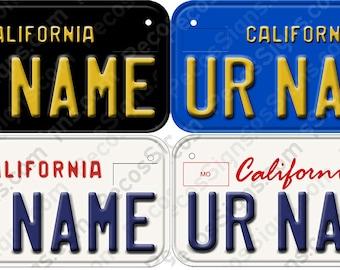 "Custom Bicycle/Mini California Aluminum License Plate 6"" w x 3"" h Made in USA UV Protected"