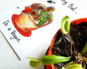 Postcard, illustration, Venus Fly Trap, Vegan