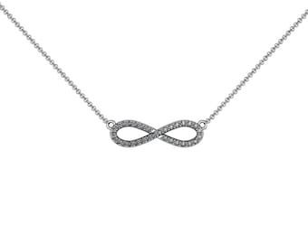 Infinity Diamond Necklace 14k White Yellow Rose Gold accented by 30 diamonds 0.24 ct | made to order for you within 5-7 business days