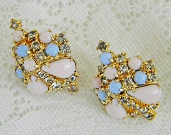 Pink and Blue Screw Back Earrings, Clear Rhinestones, Polished Gold Tone, Large, Domed Shape