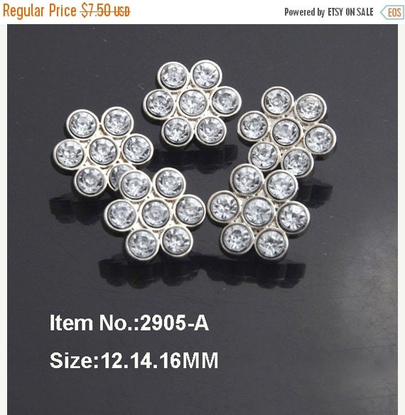 Moving Sale 10 Rhinestone Buttons Clear Plastic Acrylic Rhinestone Flower Buttons-Petite Size12mm-2905-2R.