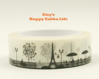 Paris in Black - Japanese Washi Masking Tape - 11 Yards
