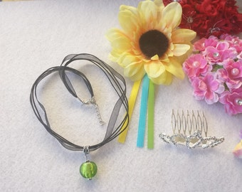 Princess Anna, Frozen Costume Set of Necklace, Sunflower and Crown