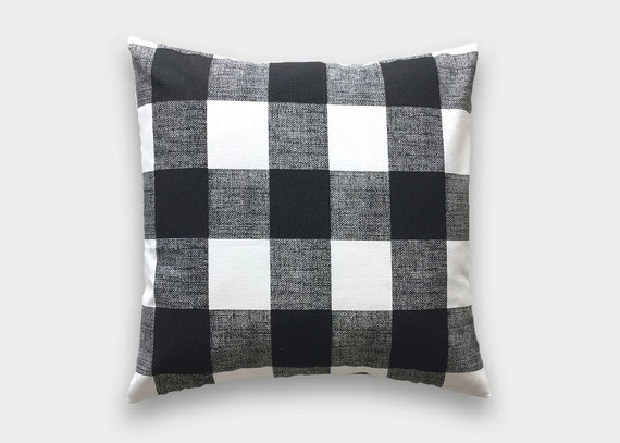 Black Buffalo Check Throw Pillow Cover Black And White