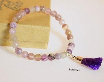 SALE Purple Tassel Beaded Bracelet, Stretchy Bracelet. Purple Handmade Bracelet,  Amethyst Color Tassel Bracelet  . CKDesigns.US