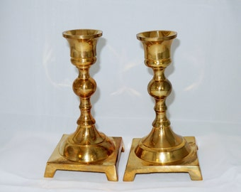 Vintage Pair Of Brass Candleholders, 70's India Brass Christmas Decor, Candle Stick