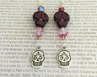 Sugar Skull Earrings - Limited Edition - Made With Vintage Czech Crystals In Pink and Black With Two Sugar Skull Beads Day of the Dead