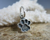 Sterling Silver Paw Print Charm, 12x8mm, with Jumpring, Dog Paw, Cat Paw, Ready to Ship!