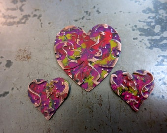 Embossed Copper Heart Pendant & Earring Charms, Love Notes Patina, Handcrafted Components