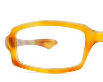 Vintage Women Honey Amber Rectangle Eyeglass Optique Magnifique Frames Eyewear