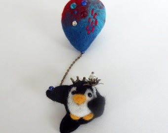 Flying penguin the king with balloon ,Cute Felted Brooch, Penguin Jewelry