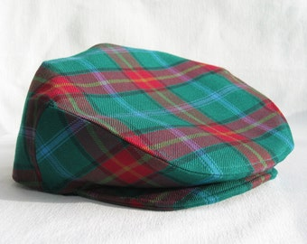 Manitoba Tartan Hat, Manitoba Tartan Golf Cap, Gentlemen Hat, Green Plaid Custom Hat, Taylors Tartans, Made In Canada Hat