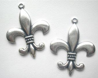 Antiqued Silver Fleur De Lis Pendants - 2 Pieces