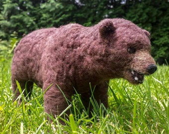 Needle Felted Brown Bear / Grizzly Sculpture (OOAK)
