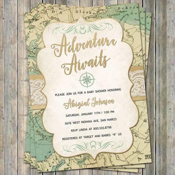 World Baby Shower Invitation Travel Baby Shower Adventure