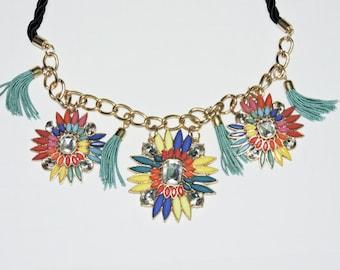 Rainbow Statement Necklace Beaded Flowers Glass Beads Blue Tassle Choker Vintage Hippie Red Yellow Orange Blue
