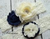 Beautiful NAVY BLUE Bridal Garter Set - Ivory Keepsake & Toss Wedding Garter - Chiffon Flower Rhinestone Lace Garters - Vintage Lace Garter