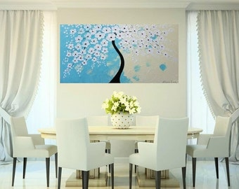 XLarge gallery wrap canvas Original Contemporary   oil/acrylic  Impasto painting Dreamy Aqua Blossoms  by Nicolette Vaughan Horner