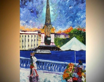 "Original Oil  painting Abstract Modern  ""Paris Days"" oil painting by Nicolette Vaughan Horner"