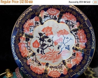 Now On Sale Vintage Orange & Royal Blue Flower Pattern Tin Wall Hanging Serving Dish Oriental inspired 1971 1970's Home Decor