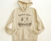 X-FILES 2pac and ALIEN I Want to BELIEVE oatmeal heather super soft Hoodie sweatshirt small - extra large