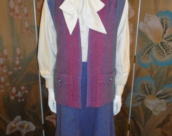 Vintage 1970/1980's Avoca Collection Purple Wool Vest and Skirt Set - Size 12