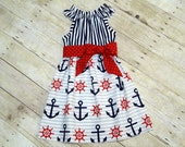 Girls Summer Dress Flutter Sleeve with Sash Nautical Red White and Blue Stripe Anchor Size 6-12 month, 18 month, 2 / 3, 4 / 5, 6 / 7, 8 / 9