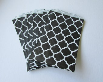 """NEW Set of 10 Black and White Casablanca Pattern Middy Bitty Bags (5"""" x 7.5"""")"""