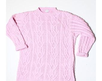 Vintage 90s Viyella Petite Baby Pink Aran Knit Jumper L UK 16 18 US 14 16