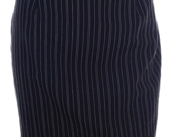 Vintage 80s 90s Black Pinstripe Back Split Pencil Mini Shift Skirt UK 12 US 10 12