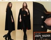 15% OFF 1DAY SALE 60s Vtg Black + Orange Genuine Wool Cloak Cape Jacket / Mod Military Inspired Joseph Magnin Collared Swing Sleeveless Mini