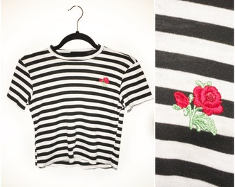 Jailbait Black White Stripe Jersey Crop Top Red Rose Patch Made to Order Valentines 90s inspired