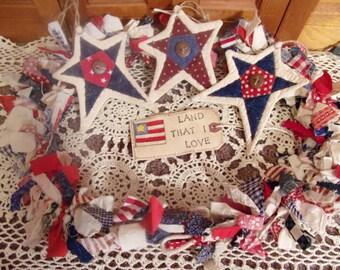 Primitive Country Raggedy Tattered Patriotic Americana Rag Swag GARLAND with STARS Skirting Wrap Drape (RWB-02)