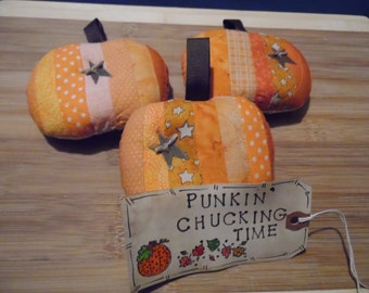 Primitive Whimsical Country Scrappy Fall Autumn Halloween Mini PUMPKIN Bowl Fillers Pillow Ornies