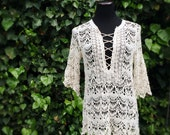 Desert Drift Boho Crochet Lace Tunic, Bohemian style pullover, Lace front, One size fits all, size XS Small Medium