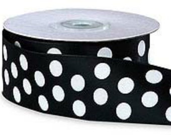 "5YDS x 1-1/2"" Black & White Big Polka Dot Satin Ribbon"