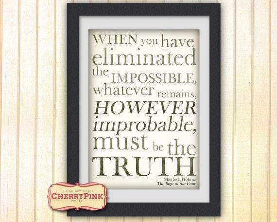 Sherlock Quote Print, Sherlock Holmes decor, typography print, Sherlock Holmes quote from the Sign of the Four.