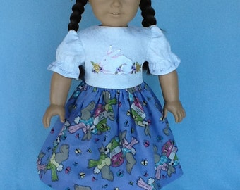 18 inch doll dress and hair clip.  Fits American Girl Dolls.  Easter dress with embroidered bunny.
