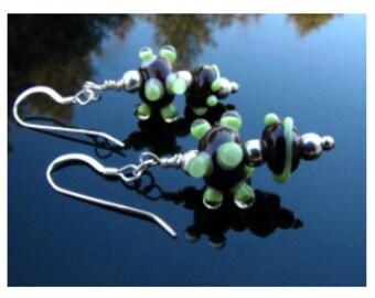 Lampwork Earrings Artisan Glass Crafted Handmade Beads SRAJD  SRA