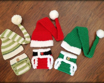 Crochet Diaper Cover Pattern, Crochet Elf Hat Pattern - Crochet Santa - Crochet Baby Stocking Hat - Crochet Patterns by Deborah O'Leary