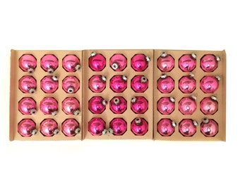 3 dozen Vintage Pink Shiny Brite Christmas Tree Ornaments - 36 Small Bulbs